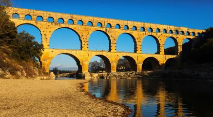 Roman Bridge Pont du Gard in autumn in South of France