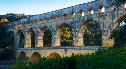 Famous landmark Roman Bridge Pont du Gard in southern France