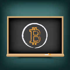 Bitcoin education drawing on chalkboard