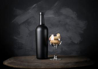 Wine bottle on background - Mock-up