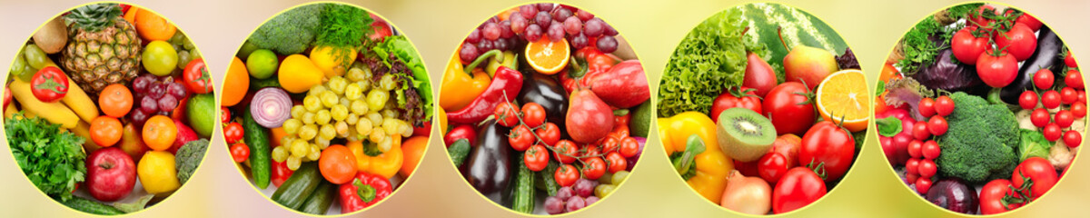 Panoramic photo fresh fruits and vegetables in round frame on blurred background.