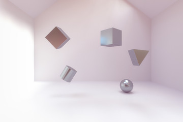 3d rendering of abstract geometry blocks in empty room