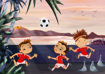 Play football. Happy childhood concept.Painting illustration
