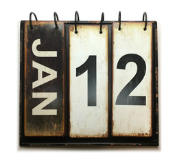 January 12 on calendar with white background