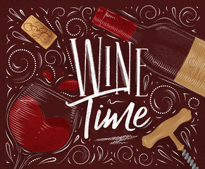 Poster wine time red