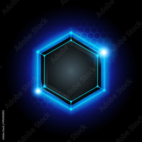 a20a7572 vector illustration blue abstract modern metal cyber technology background  with poly hexagon pattern and blue light