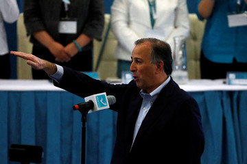 Ruling PRI presidential candidate Meade swears in to members of Nueva Alianza (New Alliance) party, in Mexico City