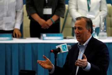 PRI presidential candidate Meade speaks to members of Nueva Alianza (New Alliance) party after he was sworn in, in Mexico City