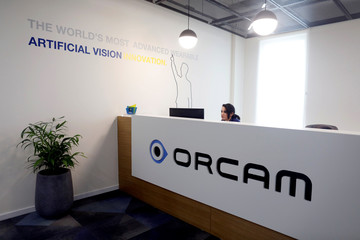 A general view of the entrance to the OrCam company's office in Jerusalem