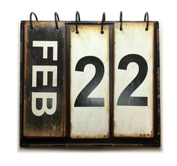 February 22 on calendar with white background