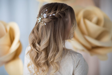 Foto auf Acrylglas Friseur wedding hairstyle, rear view