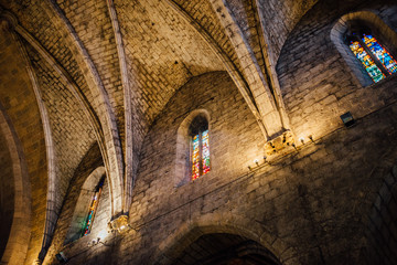 Gothic vault of St. Peter's Church in Figueres, Spain.