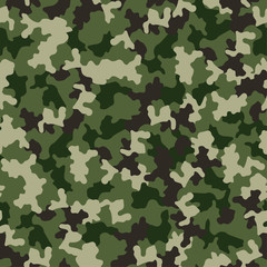 Green camouflage seamless pattern. Military fashion, fabric design. Vector illustration background.