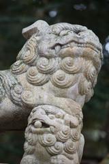 古い獅子の彫刻、阿吽の吽(あうんのうん)