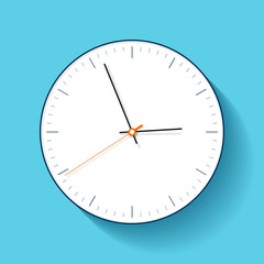 Simple Clock icon in flat style, minimalistic timer on blue background. Business watch. Vector design element for you project