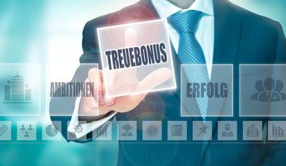 "A businessman pressing a Loyalty Bonus ""Treuebonus"" button in German on a futuristic computer  display"
