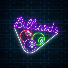 Glowing neon signboard of bar with billiards on brick wall background. Billiard balls in triangle frame.