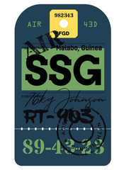 Malabo airport luggage tag. Realistic looking tag with stamp and information written by hand. Design element for creative professionals.