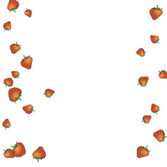 Delicate background with Strawberries. Trendy template for a postcard, stamp, banner or poster. Cute Strawberries on a white background. Vector