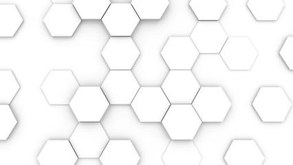 Hexagonal structure futuristic white background. 3D illustration