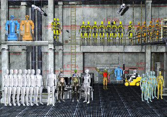 3D Illustration of a Robot warehouse