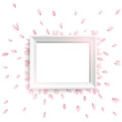 ベクター、桜の花びらと白いフレーム