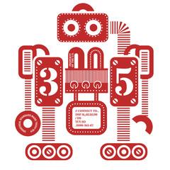 Large heavy robot illustration. Artistic design of futuristic mechanism. Design for kids.