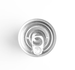 can on white background view from