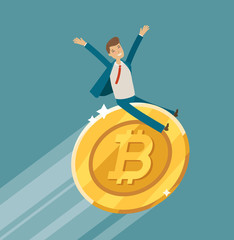 Bitcoin crypto currency growth chart. Business, upward trend concept. Cartoon vector illustration