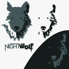Wolf bolt Emblem, mascot head silhouette, Vector
