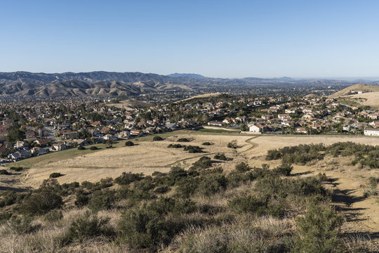 Hilltop view of suburban fields and housing tracts in Simi Valley near Los Angeles in Ventura County California.