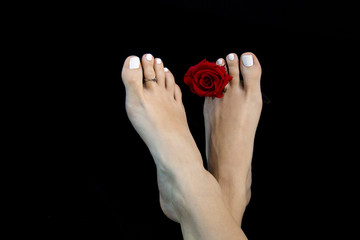 "Attractive feet of woman, classic ideal beauty with ""Greek foot"" toe, white nail lacquer, soft perfect skin, fresh red rose, close up on black abstract background"
