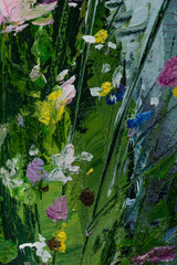 Oil painting still life with  flowers On  Canvas with  texture