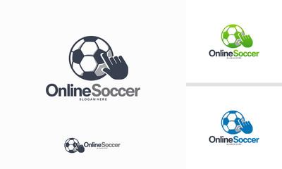 Online Soccer logo designs vector, Football Info logo template vector