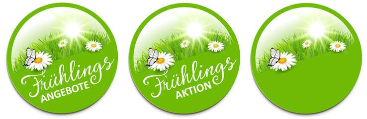Frühling - Angebot Button Set mit Margeriten Blumen Wiese, Sonne und Schmetterling