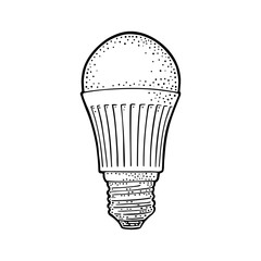 LED light bulb lamp. Vector vintage engraving on white background