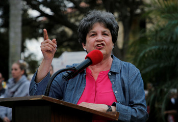 U.S. Rep. Lois Frankel (D-FL) speaks to Protesters at a Call To Action Against Gun Violence rally by the Interfaith Justice League and others in Delray Beach
