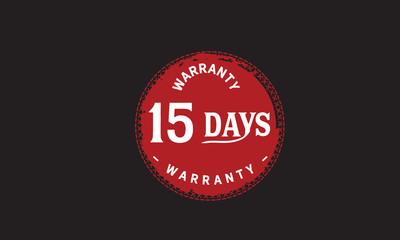 15 days warranty icon vintage rubber stamp guarantee