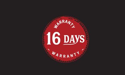 16 days warranty icon vintage rubber stamp guarantee