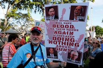 Protester James Lee of Port St. Lucie, Florida, takes part in a Call To Action Against Gun Violence rally by the Interfaith Justice League and others in Delray Beach