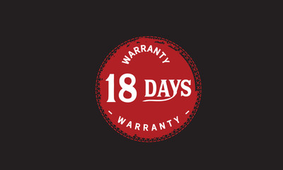 18 days warranty icon vintage rubber stamp guarantee