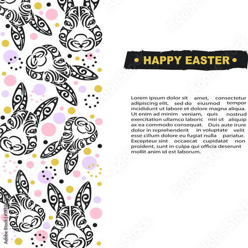 Template With Bunny Head For Happy Easter Day Party