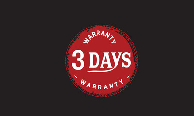 3 days warranty icon vintage rubber stamp guarantee