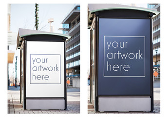 Outdoor Advertising Kiosk Mockup