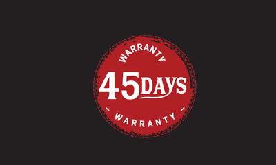 45 days warranty icon vintage rubber stamp guarantee