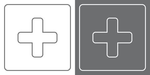 Flat Icon Button - Cross/Plus