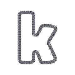 K Tire Print Track Letter Logo Icon Design