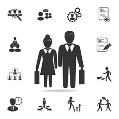 Pictogram of a businessman and a businesswoman icon. Set of Human resources, head hunting icons. Premium quality graphic design. Sign sand symbols collection, simple icons