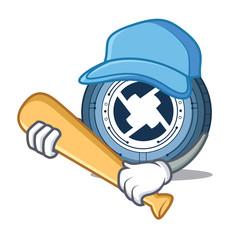 Playing baseball 0X coin character cartoon
