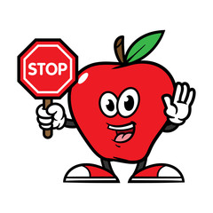 Cartoon Apple Character Holding Stop Sign